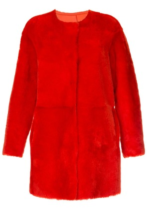 Desa 1972 collarless shearling coat - Red