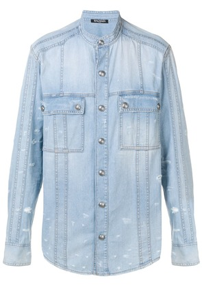 Balmain mock collar denim shirt - Blue