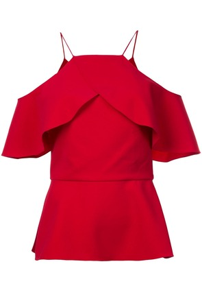 Christian Siriano ruffled off-shoulder top - Red