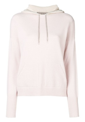 D.Exterior contrasting panels hoodie - Pink
