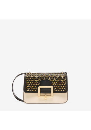 Bally The Janelle Bag Black, Women's calf leather shoulder bag in black and bone with studs