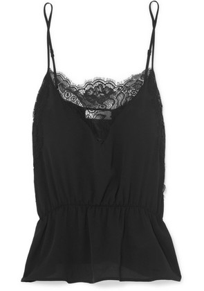 Anine Bing - Lace-trimmed Silk Camisole - Black