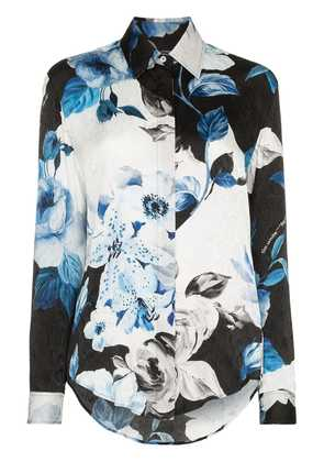 Off-White floral long-sleeve shirt - Blue