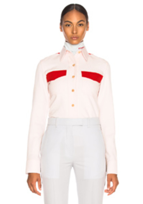 CALVIN KLEIN 205W39NYC Wool Twill Colorblocked Shirt in Pink