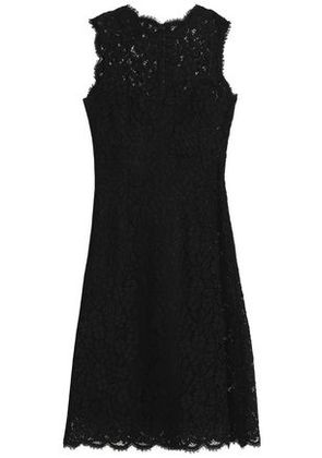 Dolce & Gabbana Woman Embellished Cotton-blend Lace Mini Dress Black Size 36