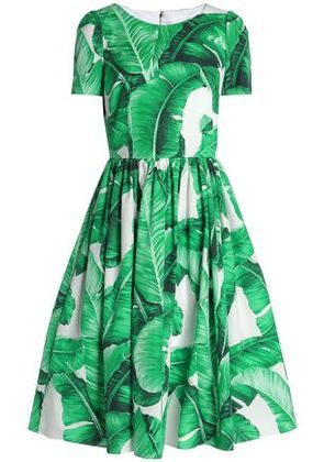 Dolce & Gabbana Woman Pleated Printed Cotton-poplin Dress Green Size 36