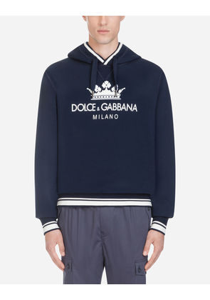 Dolce & Gabbana Sweaters - COTTON HOODIE WITH PRINT BLUE