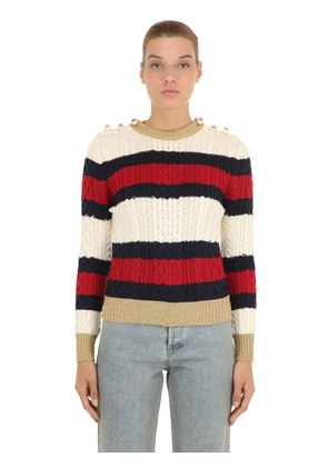 STRIPED WOOL CABLE KNIT SWEATER W/ LUREX
