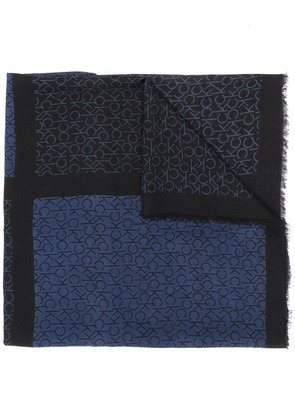 Calvin Klein two tone monogram scarf - Black