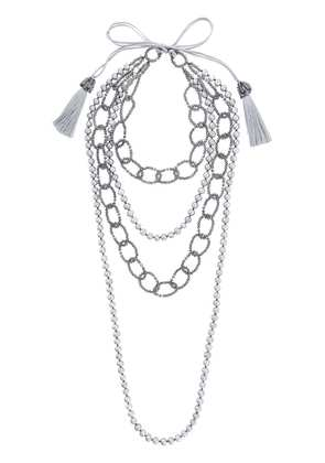 Night Market faux pearl and bead layered necklace - Grey