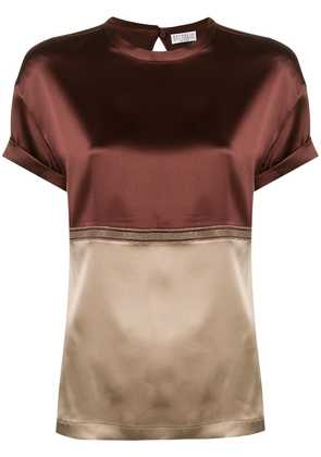 Brunello Cucinelli color blocked blouse - Red