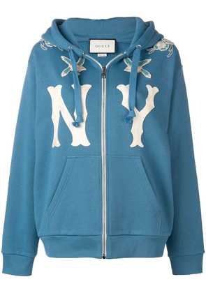 Gucci 'NY' patch hooded jacket - Blue