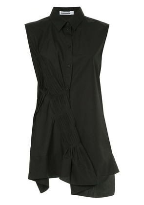 Jil Sander gathered pleat sleeveless shirt - Black