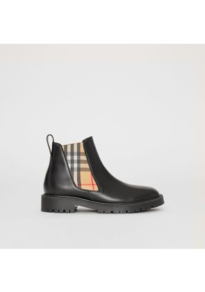 Burberry Vintage Check Detail Leather Chelsea Boots, Black