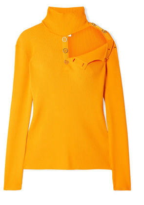 Dion Lee - Cutout Ribbed Stretch-knit Turtleneck Sweater - Marigold
