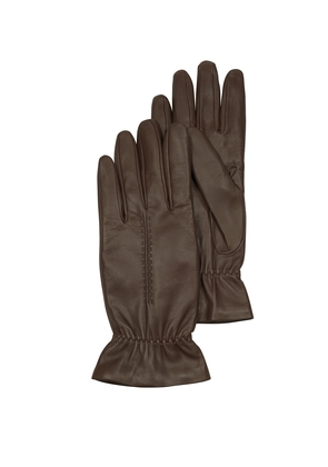 Forzieri Women's Gloves, Chocolate Brown Leather Women's Gloves w/Wool Lining