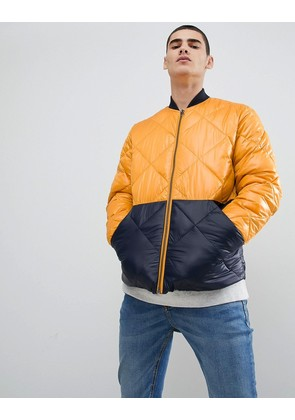 Jack & Jones Originals quilted jacket with colour block - Sunflower
