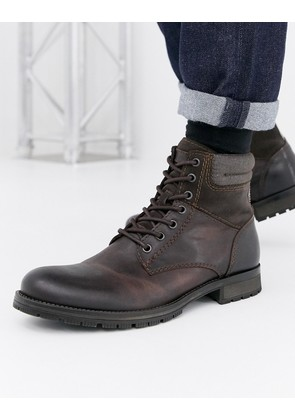 Jack & Jones leather boot - Brown stone