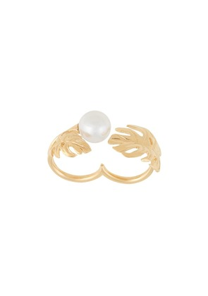 Ingie Paris double finger pearl ring - Gold