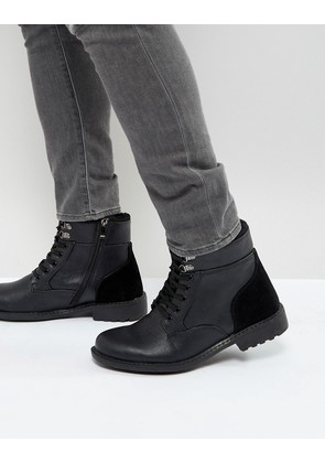 Brave Soul Lace Up Boots In Black - Black