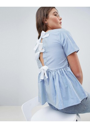 Brave Soul Faith Stripe Blouse with Tie Back - Blue / whiye