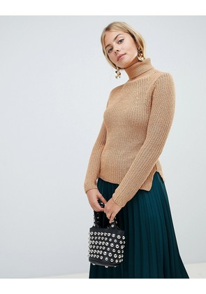 Brave Soul Honey Ribbed Roll Neck Jumper with Stitch Detail - Tan twist