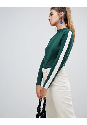 Brave Soul Paxtor High Neck Top with Side Stripe Sleeves - Forect green