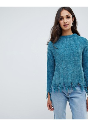 Brave Soul stabilo chenille jumper with distressed hem - Teal