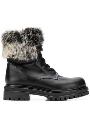 Albano fur trim boots - Black