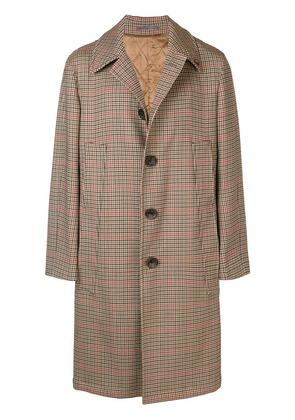 Gabriele Pasini checked single-breasted overcoat - Brown