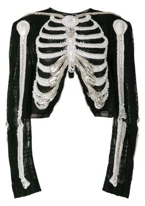 Thom Browne Reverse Opening Cardigan Jacket In Crystal Skeleton