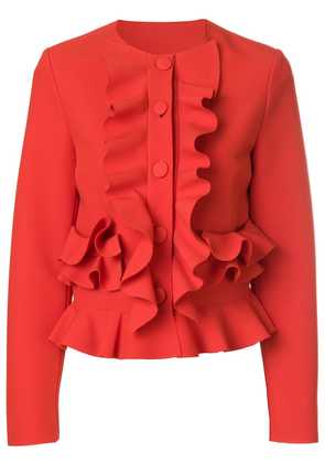 MSGM ruffle fitted jacket - Red