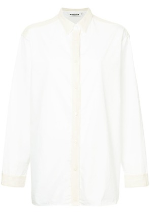 Jil Sander wool trim shirt - White