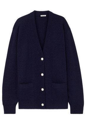 Miu Miu - Oversized Crystal And Faux Pearl-embellished Wool Cardigan - Navy