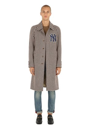 WOOL HOUNDSTOOTH COAT W/ NY DETAIL