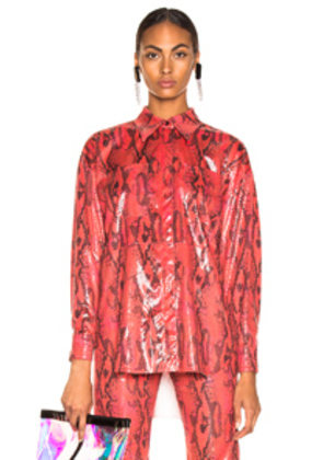 MSGM Snakeskin Button Down Top in Animal Print,Red