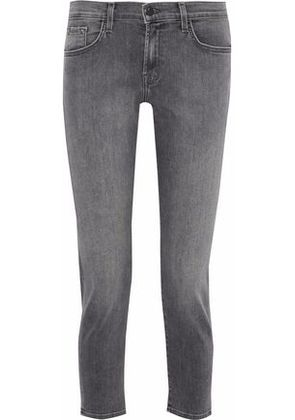 J Brand Woman Cropped Faded Mid-rise Skinny Jeans Anthracite Size 26