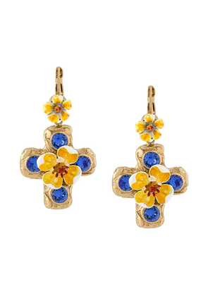 Dolce & Gabbana crystal cross drop earring - Metallic