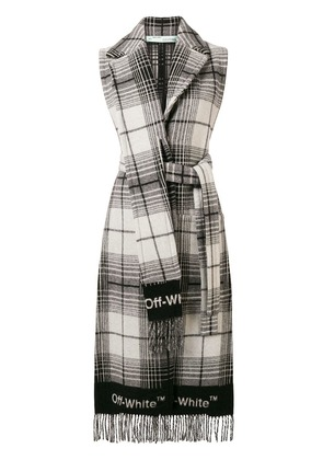 Off-White sleeveless checked coat - Black
