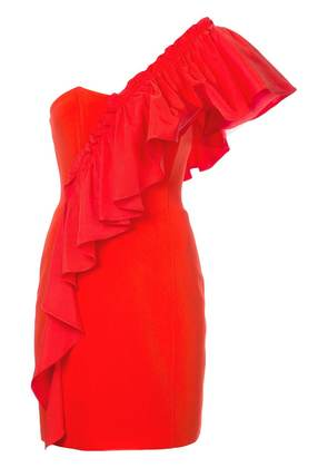 Cinq A Sept frilled fitted dress - Red