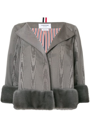 Thom Browne Mink Fur-Trimmed Jacket - Grey