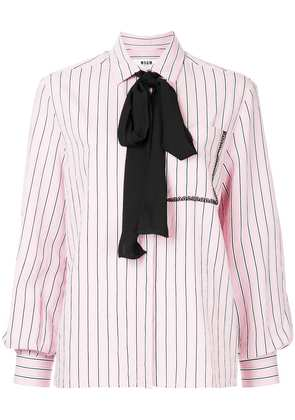 MSGM striped pussy-bow shirt - Pink