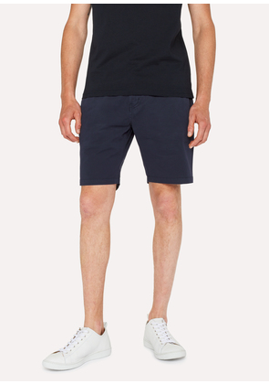 Men's Dark Navy Garment-Dyed Stretch Pima-Cotton Shorts