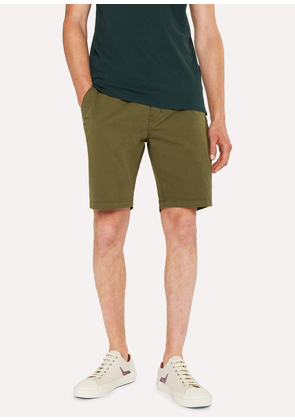 Men's Khaki Garment-Dyed Stretch Pima-Cotton Shorts
