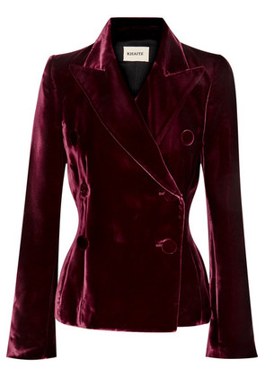 Khaite - Cathy Double-breasted Velvet Blazer - Merlot