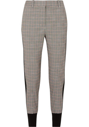 3.1 Phillip Lim - Ribbed Knit-trimmed Checked Wool-blend Track Pants - Gray