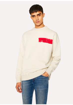 Men's Ecru Red Ear Logo Cotton Sweatshirt