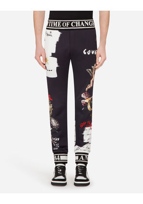Dolce & Gabbana Trousers - JOGGING PANTS IN PRINTED COTTON BLACK
