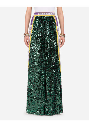 Dolce & Gabbana Trousers and Leggings - SEQUINNED PANTS GREEN