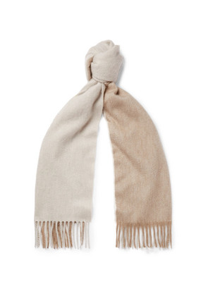 Arran Two-tone Fringed Cashmere Scarf